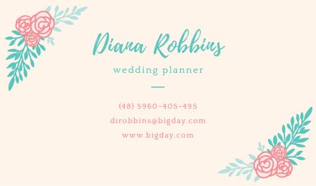 Plantilla de diseño de Wedding planner Contacts Information Business card