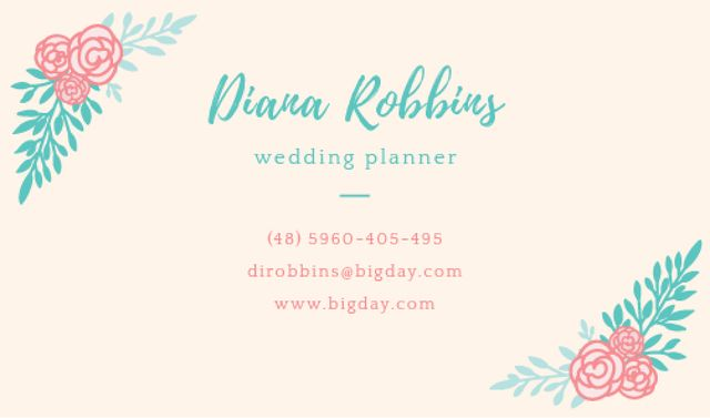 Wedding planner Contacts Information Business card Tasarım Şablonu