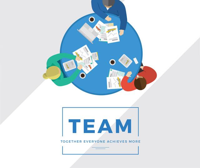 Szablon projektu Business people working together at table Facebook