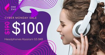 Cyber Monday Sale Woman in Headphones