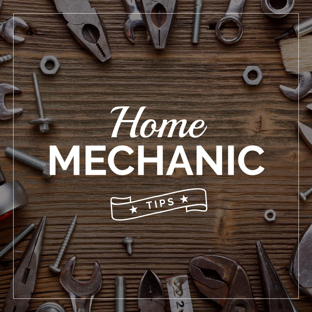 Home mechanic tips with Tools on Table — Создать дизайн