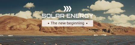 Ontwerpsjabloon van Twitter van Green Energy Solar Panels in Desert