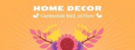 Decor studio Blooming bright flowers Facebook Video cover Modelo de Design