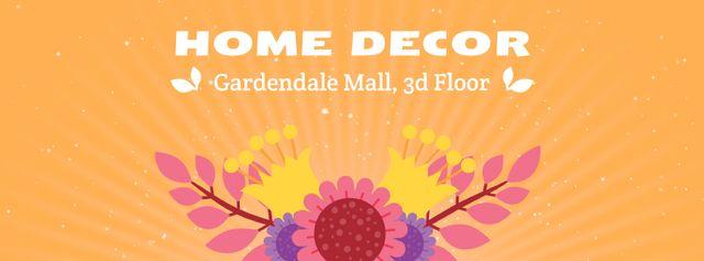 Decor studio Blooming bright flowers Facebook Video cover – шаблон для дизайна