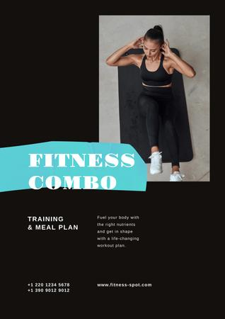 Plantilla de diseño de Fitness Program promotion with Woman doing crunches Poster