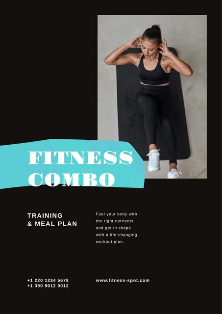 Fitness Program promotion with Woman doing crunches Poster Modelo de Design