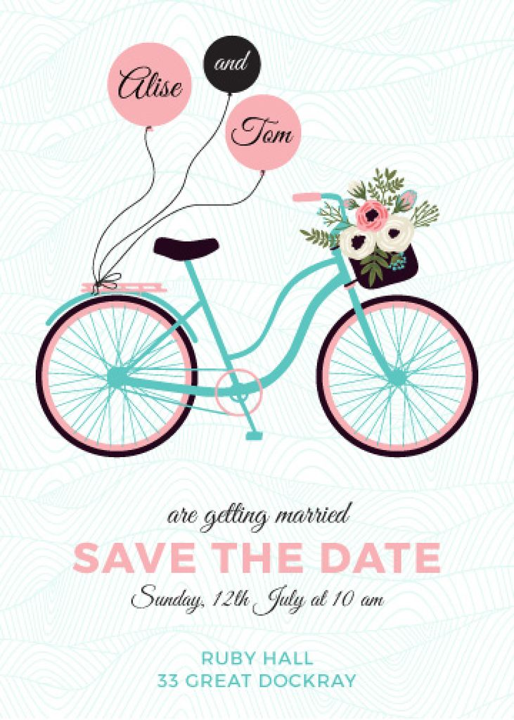 Wedding Invitation with Bicycle and Flowers | Flyer Template — Створити дизайн