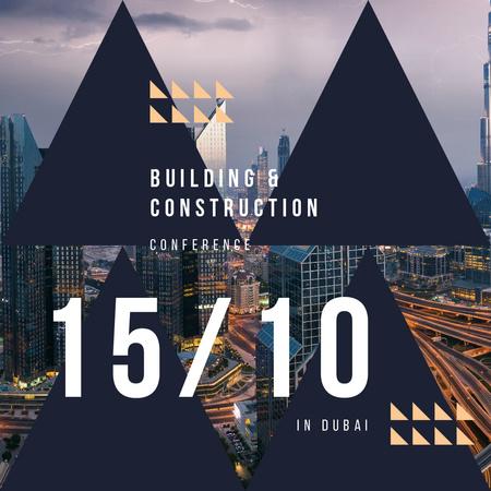 Night city traffic lights for Building conference Instagram AD – шаблон для дизайна