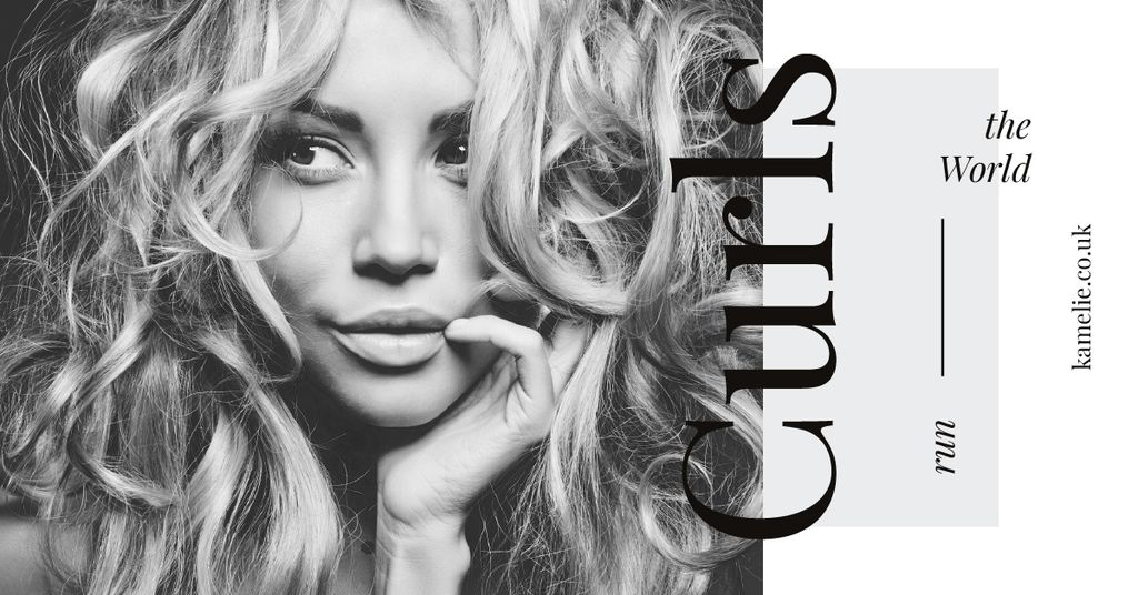 Curls Care Tips with Woman with Messy Hair — Modelo de projeto