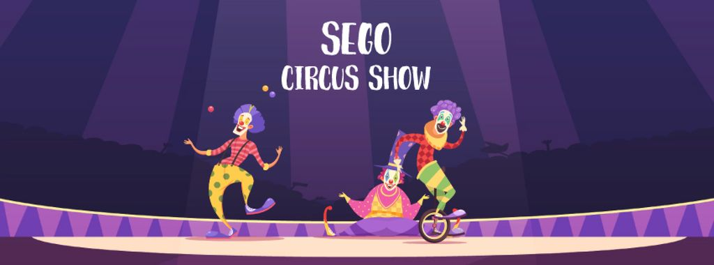 Circus Show Ad Clowns on Arena | Facebook Video Cover Template — Crear un diseño