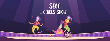 Circus Show Ad Clowns on Arena | Facebook Video Cover Template