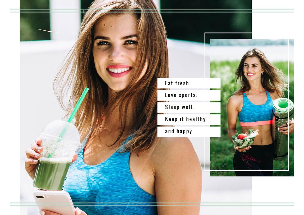 Fit Girl with Healthy Food Postcard Design Template