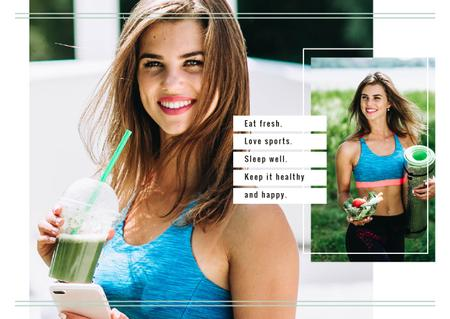 Fit Girl with Healthy Food Postcard Modelo de Design