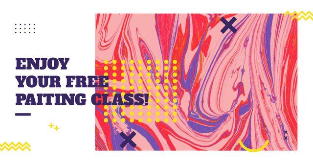 Modèle de visuel Free painting class Offer - Facebook AD