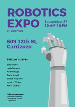 Robotics Expo Robotic Hand in Blue | Poster Template