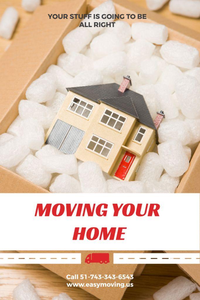 Home Moving Service Ad House Model in Box — ein Design erstellen