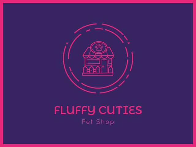 Pet Shop Icon in Pink Presentation Design Template