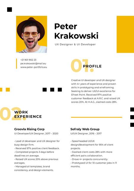 Designer professional Skills and Experience Resume – шаблон для дизайну