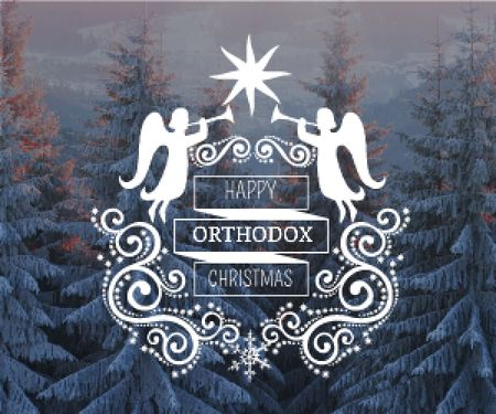 Plantilla de diseño de Christmas Greeting Winter Forest and Angels Medium Rectangle