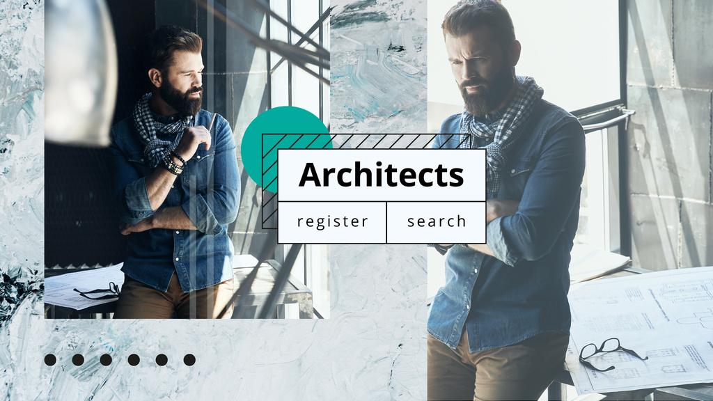 Architect working with blueprints — Maak een ontwerp
