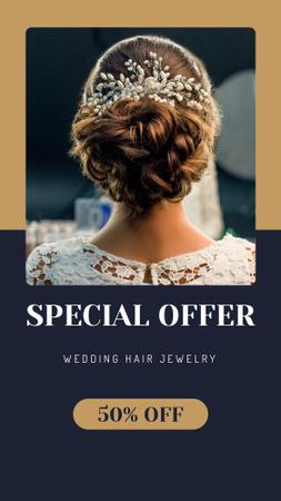 Wedding Jewelry Offer Bride with Braided Hair Instagram Story Design Template