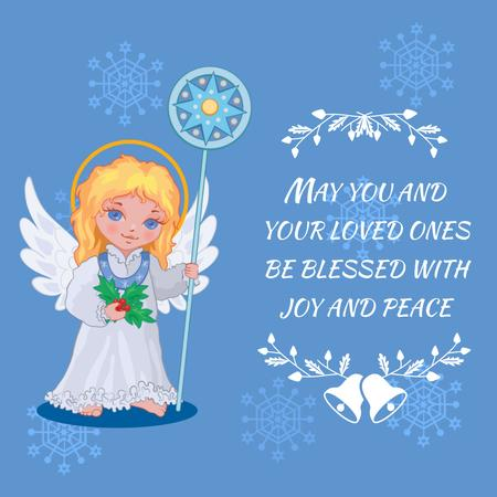 Plantilla de diseño de Little girl angel in Blue Animated Post