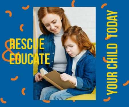 Mother Teaching Her Daughter to Read Medium Rectangle Modelo de Design