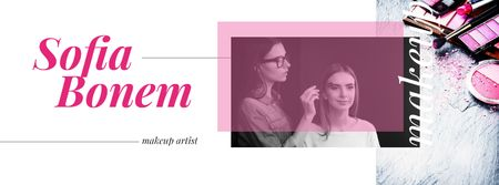 Plantilla de diseño de Beautician applying makeup Facebook cover
