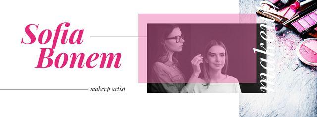 Beautician applying makeup Facebook cover – шаблон для дизайна