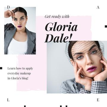 Young Woman with Fashionable Makeup | Instagram Ad Template