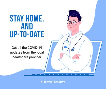 Plantilla de diseño de #FlattenTheCurve Local healthcare updates Ad Facebook