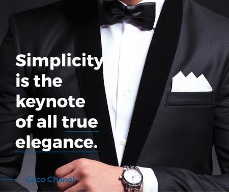 Plantilla de diseño de Elegance Quote Businessman Wearing Suit Facebook