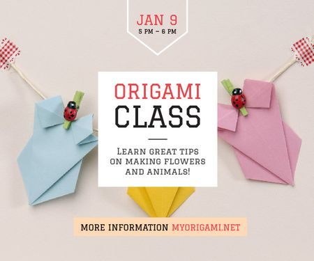 Origami Classes Invitation Paper Garland Large Rectangle Modelo de Design