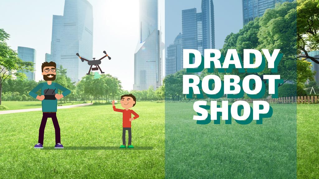 Gadgets Shop Father and Child Launching Drone | Full Hd Video Template — Maak een ontwerp
