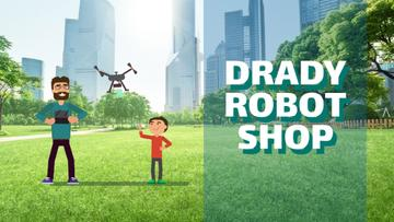 Gadgets Shop Father and Child Launching Drone