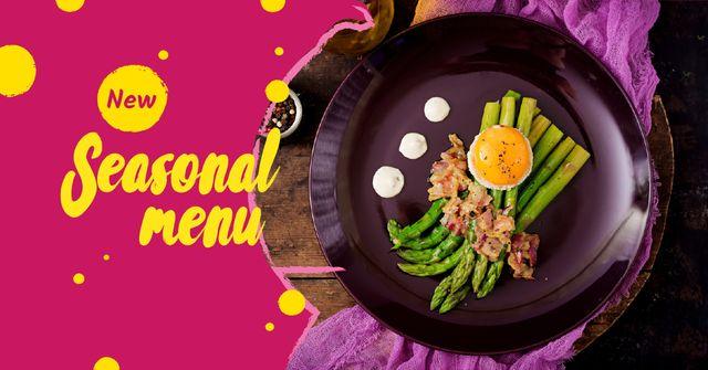 Seasonal Menu offer with green asparagus Facebook AD Modelo de Design