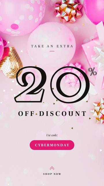 Szablon projektu Cyber Monday Sale Balloons and Bows in Pink Instagram Story