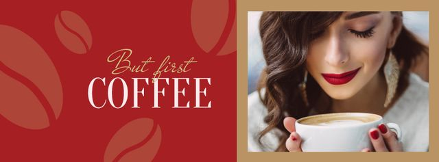 Modèle de visuel Woman holding coffee cup - Facebook cover