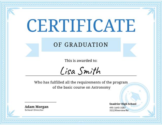Astronomy Course Graduation in blue Certificate Modelo de Design