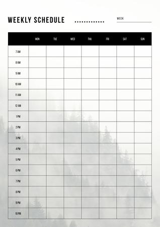 Plantilla de diseño de Weekly Schedule Planner on Foggy Mountain Forest Schedule Planner