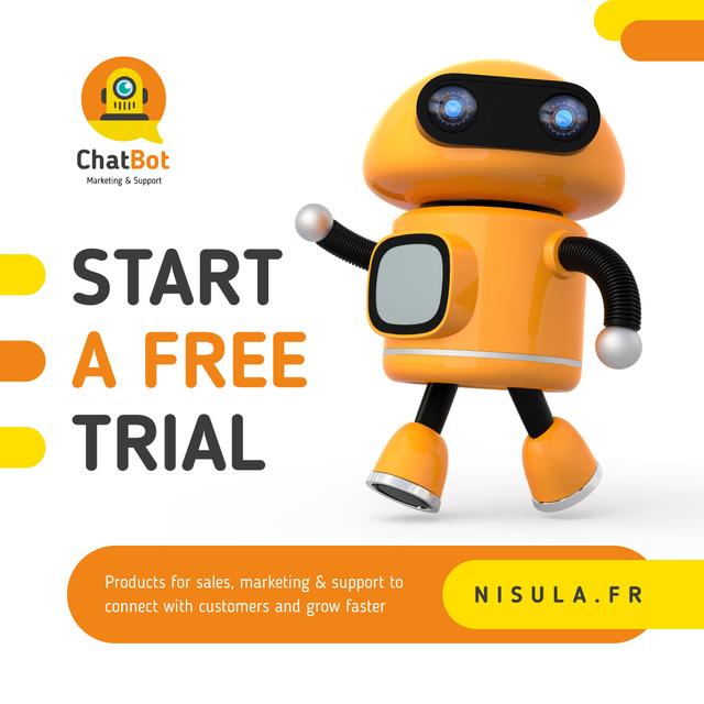Innovative Android Robot in Orange Instagram – шаблон для дизайна