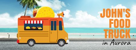 Plantilla de diseño de Food Delivery Service with Taco Van Facebook Video cover