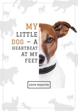 "Poster with cute Jack Russel and quotation ""My little dog - a heartbeat at my feet"""