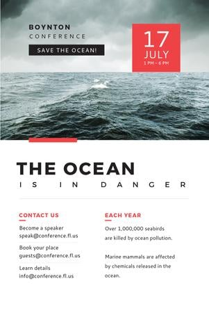 Ecology Conference Invitation with Stormy Sea Waves Pinterest Tasarım Şablonu