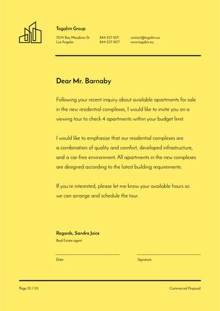 Real Estate agent official response Letterhead Modelo de Design