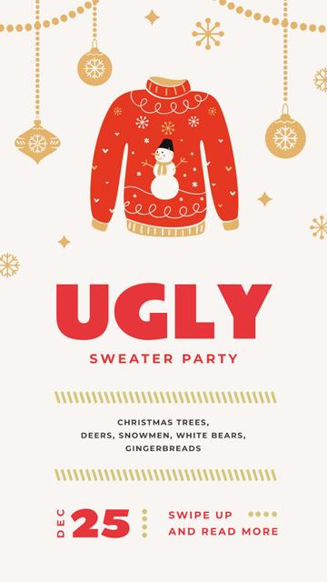 Red Christmas sweater Party Instagram Story Design Template