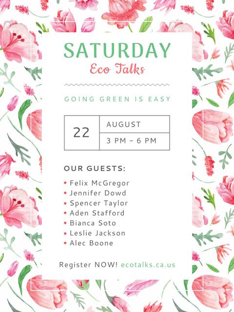 Ecological Event Watercolor Flowers Pattern Poster US Modelo de Design