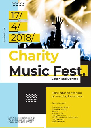 Charity Music Fest Invitation Crowd at Concert Flayer Modelo de Design
