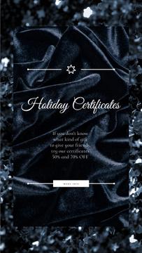 Holiday Gift Certificates Offer Glitter and Velvet in Black   Vertical Video Template