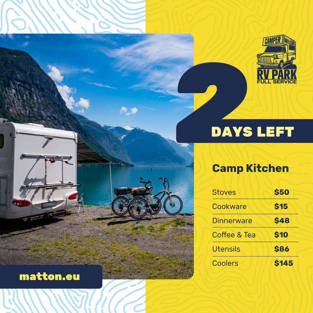 Camping Kitchen Equipment Ad Travel Trailer by Lake | Instagram Ad Template — Создать дизайн